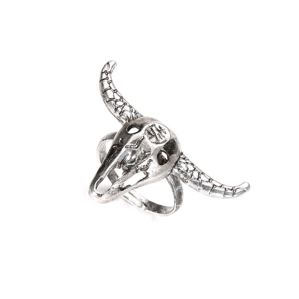 Tauren liga de prata anéis encantos oco para fora anel boêmio anéis para mulheres vintage punk jóias bague femme anillos mujer