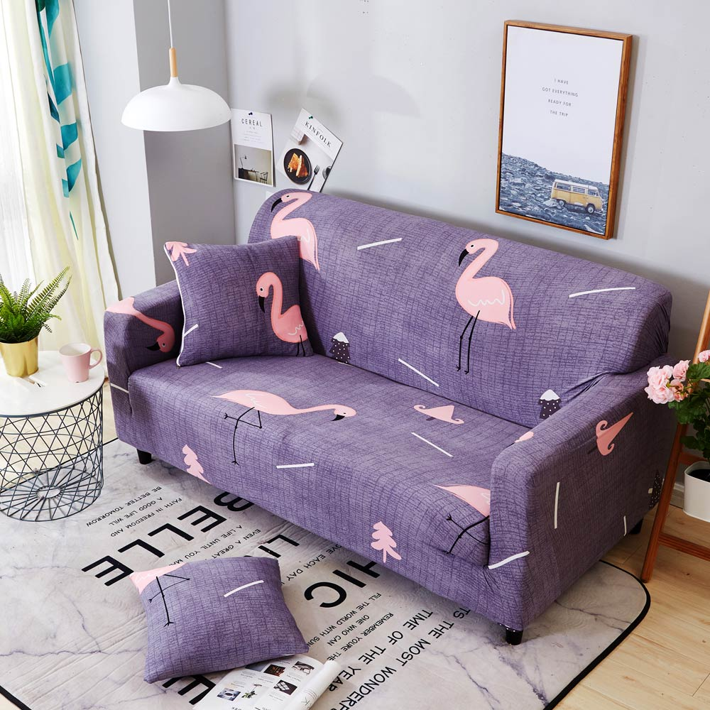 New Slipcover Stretch Sofa Cover Sofa With Loveseat Chair: 2018 Pink Flamingo Purple Stretch Elastic Chair Loveseat L