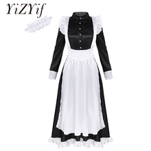 Women Maid Cosplay Sexy Costume Long Sleeves Front Button Down Long Maxi Fancy Dress with Apron and Headpiece Maid Sexy Costume