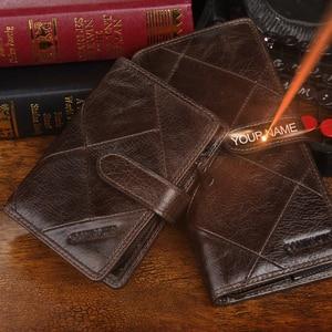 Image 5 - 2020 echtes Leder Brieftaschen Kupplung Männer Patchwork Geldbörse Und Handy Brieftasche Lange Luxus Marke Münze Tasche Karte Halter Retro Stil