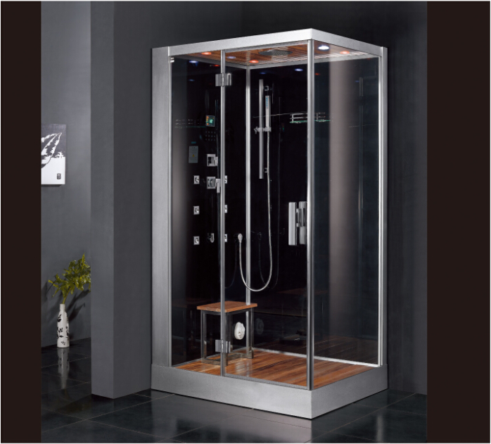 2017 luxury steam shower enclosure with tempered glass back panel sliding doors jetted massage walking in sauna room ASTS1059