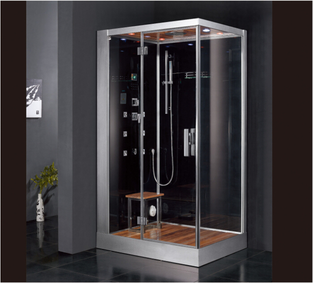 2017 Luxury Steam Shower Enclosure With Tempered Glass Back Panel Sliding  Doors Jetted Massage Walking In