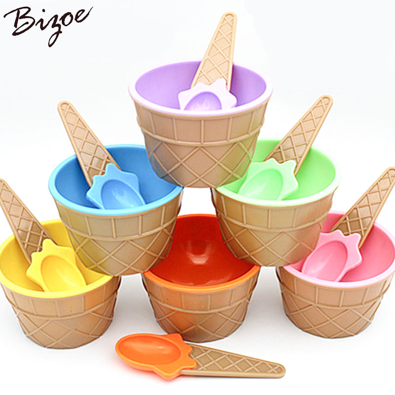 10PCS Fashion Cute Kids Sweet Color Ice Cream Spoon Set Bowl Ice Cream Cup Dessert Holder Container