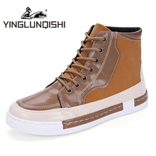 YINGLUNQISHI High Top Men Boots 2016  Fashion Casual Shoes Men's Boots Men's Shoes Stitching British Bullock Style Pump Shoes