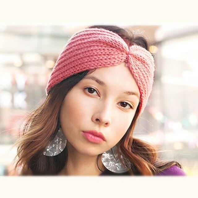 Calentador del oído del invierno hizo punto la venda del turbante ...