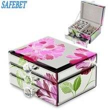 SAFEBET бренд сетки люкс шкатулка Макияж, шкатулка траве случае подарок на день рождения кольцо серьги necklack контейнер для хранения