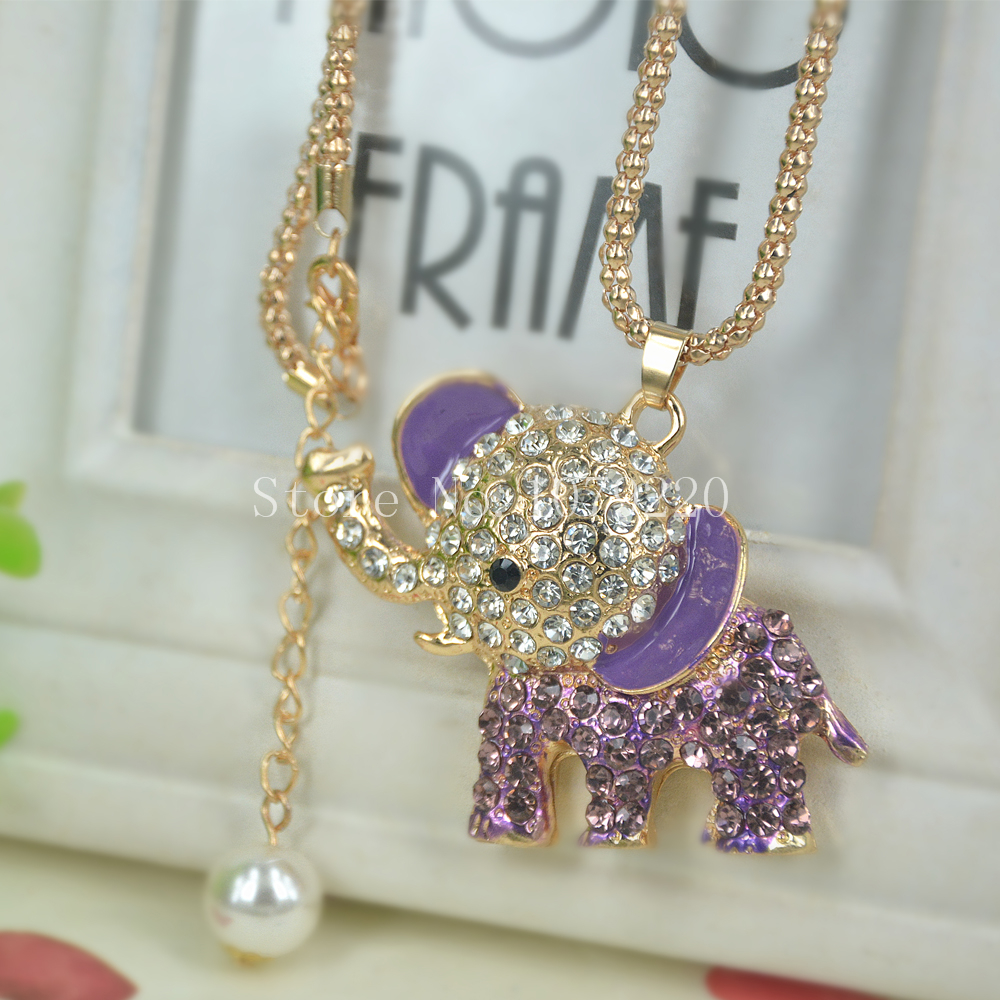 T Elephant Sweater Beads Necklace Jewelry Crystal Women Long Necklace Pendants Rhinestone Chain Christmas Valentines Lover Gift