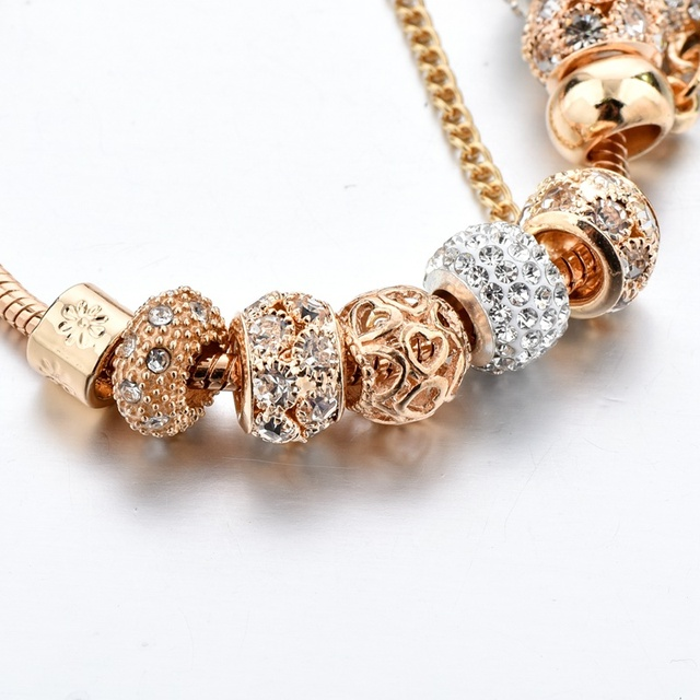 Luxury Crystal Heart Charm Bracelets&Bangles Gold Bracelets For Women Jewellery Pulseira Feminina Bracelet