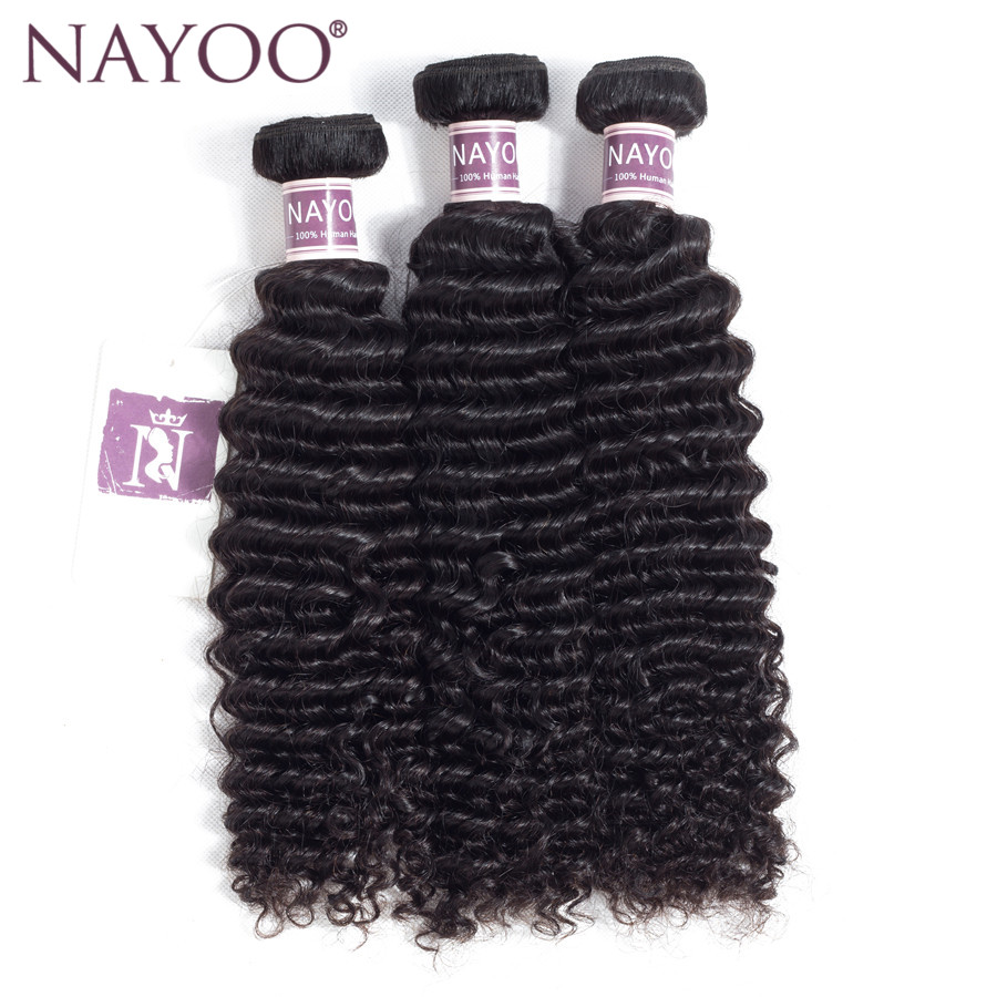 NAYOO Hair Brazilian Kinky Curly Hair Bundles 100% Human Hair Bundles 100g/pc Non Remy Hair Extensions Weaving Can Be Dyed