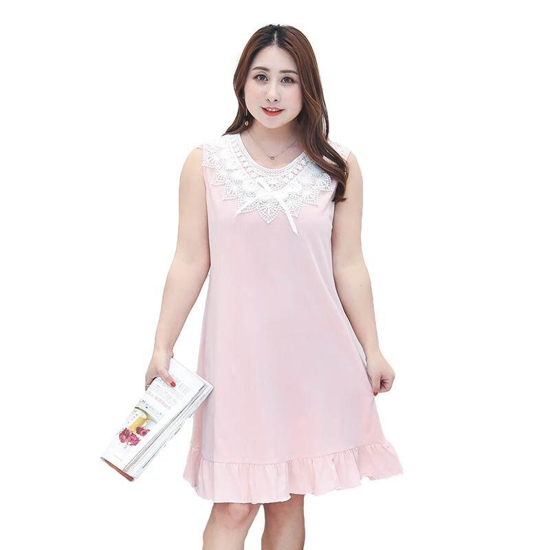 Big Size Pink Sweet Night Dress Summer Lace Collar Sleepwear Sleeveless Lady Nightgown Sleepshirt Cotton Plus Size Nightwear