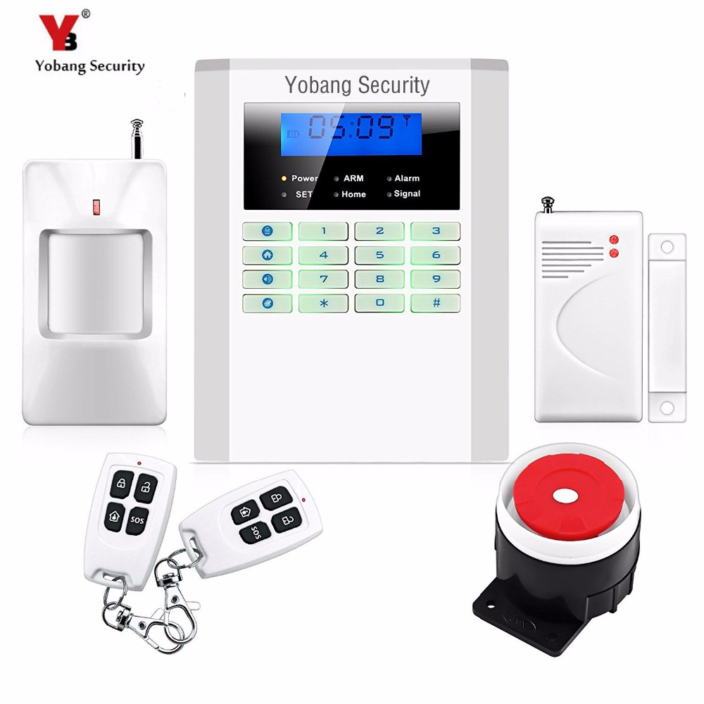 YobangSecurity LCD Screen Keyboard GSM PSTN Dual Network Alarm System for Home Security Wired Siren PIR Detector Door Sensor yobangsecurity 2016 wifi gsm gprs home security alarm system with ip camera app control wired siren pir door alarm sensor