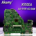 Akemy X550EA материнская плата для ноутбука ASUS X550EA X550EP X550E X552E тест оригинальная материнская плата 4G RAM A4-5100