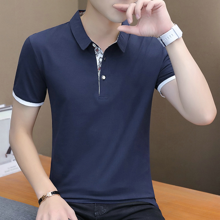 2019 Summer Short Sleeve   Polo   Patchwork Slim Shirt Men Cotton Grey Casual   Polos   Breathable Button White Shirt Mens Clothing