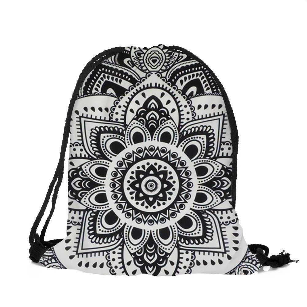 3474479981c Fashion Drawstring bag Unisex Backpacks Mandala 3D Printing School bags  Drawstring Backpack Mochila Feminina Masculina