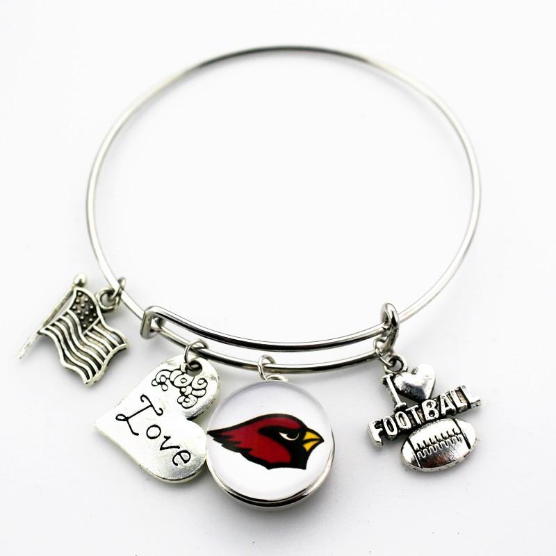 Newest 10pcs/lot Arizona Cardinals Replaceable Glass Snap Bracelet Charm I love Football Adjustable Bangles&Bracelet Jewelry
