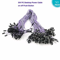 FUERAN 50Pcs 2 Pin SW PC Power Cable On Switch Wire Off Push Button ATX Computer