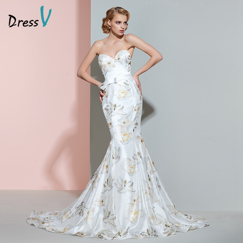 Dressv printing mermaid wedding dress sweetheart bowknot for Trumpet mermaid sweetheart wedding dress