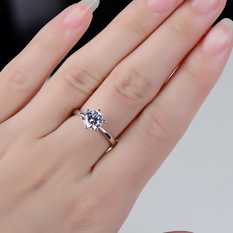 Classic Six Claw Gold Color Ring AAA Austria Crystal Wedding Ring for Bridal Christmas Gift for Women Jewelry Engagement Ring 4