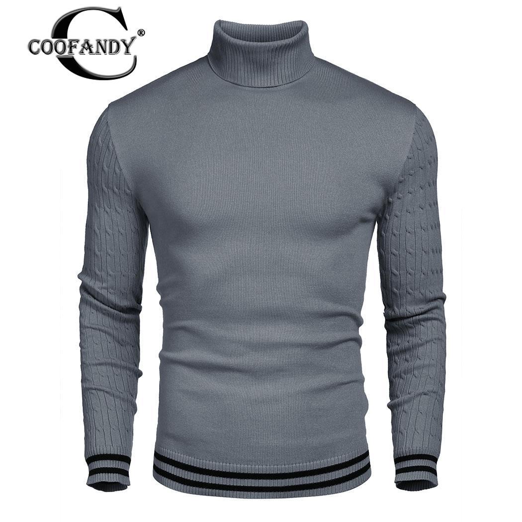 COOFANDY hommes chandail tricot léger solide manches hiver hauts mode col roulé décontracté Patchwork tricoté marque mâle chandails