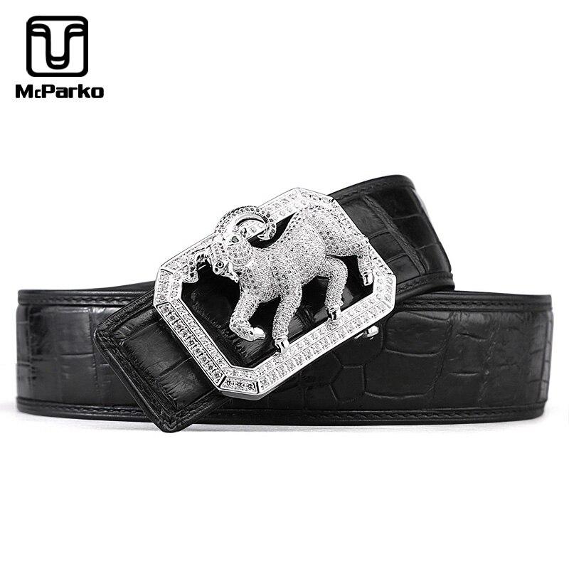 McParko Real Crocodile Belt Genuine Leather Alligator Belt Men Fashion Mascot Chinese Zodiac Design Waist Belt Strap Luxury Gift