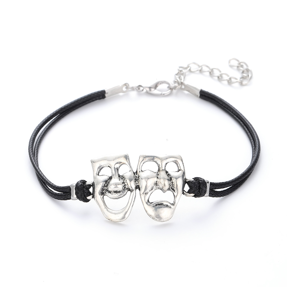Comedy Tragedy Mask Charm Bracelet Men Leather Bracelet Comedy Drama  Theatre Mask Jewelry Gift for Actress a86f5dede6d3