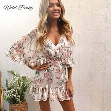 WildPinky New Arrival High Quality Fashion Ruffles Women Flower Print Dress Sexy Summer V-neck Half Sleeve Lace Vestidos