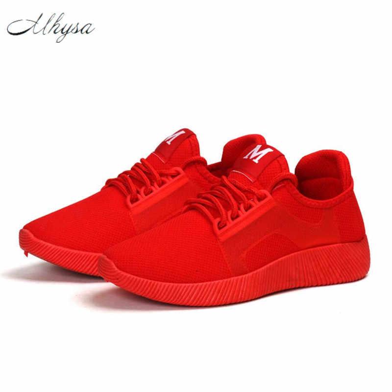 Mhysa 2019 wiosna nowy projektant kliny czerwony czarny platforma trampki damskie buty Casual siatka powietrzna kobiet mieszkania buty dla kobiety T48