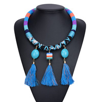 Bohemian Beaded Blue Necklace Vintage Tassel Collar Pendant Necklace For Women 2016 New Fashion Chunky Necklaces