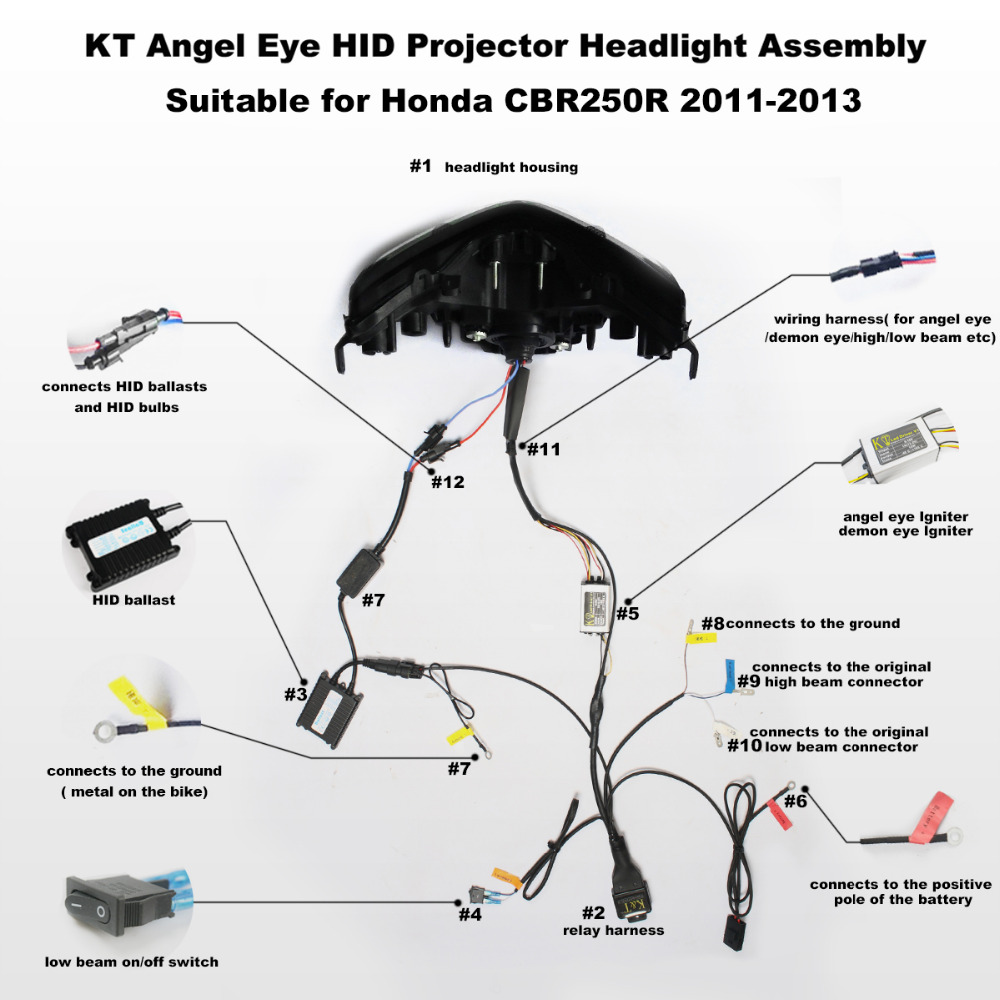 KT Headlight for Honda CBR250R 2011 2013 LED Angel Eye Motorcycle HID Projector Assembly 2012 kt headlight for honda cbr250r 2011 2013 led angel eye motorcycle 2012 honda cbr250r wiring diagram at bakdesigns.co