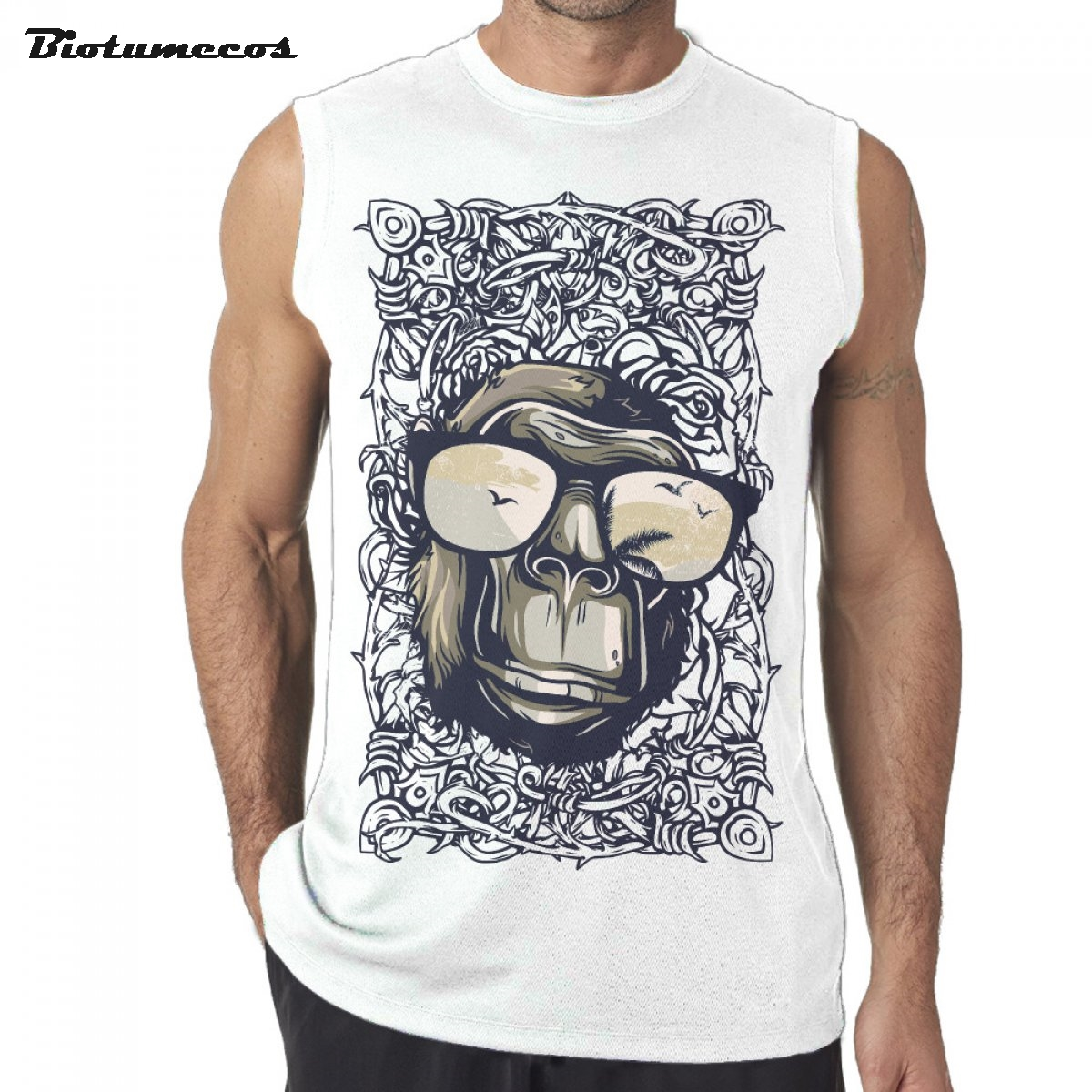 Men Tank Tops Fashion Brand Sleeveless T shirts Ape Man Wear Big Glasses Full Of Cirrus Thorns Printed Undershirts MWD025