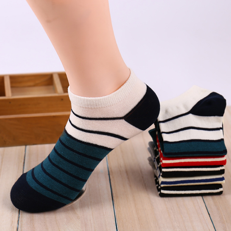 Sale New Summer Stripes   Socks   Short Ankle Comfortable Men's Boat   Socks   Cotton Wholesale