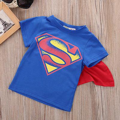 Футболка для мальчиков топы с плащом Супермена и Бэтмена детская летняя футболка с коротким рукавом одежда для маленьких мальчиков костюм