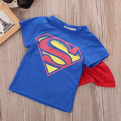 2016 Anak-anak Anak Laki-laki Atasan dengan Cape Superman Batman Anak Musim Panas Lengan Pendek T-shirt T-shirt Bayi Laki-laki Pakaian Custume