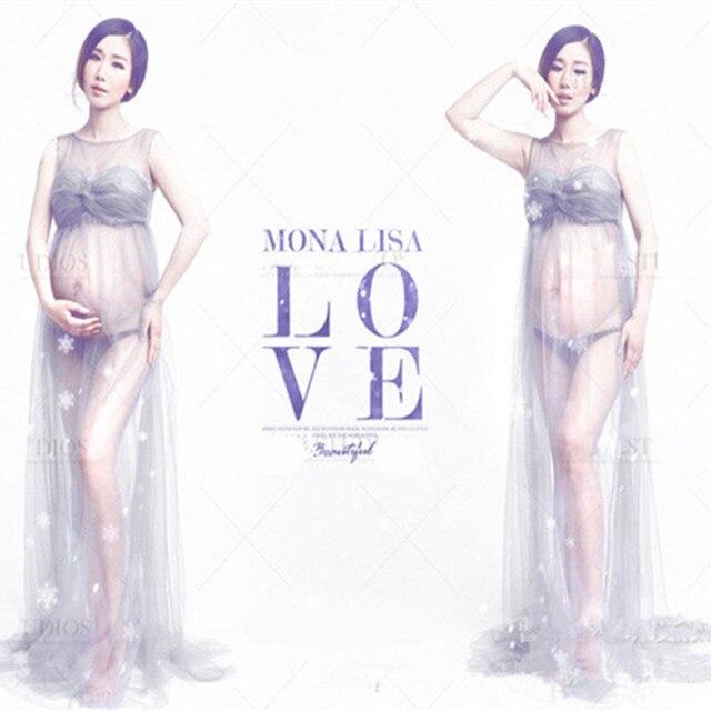 Zilvergrijs Moederschap Fotografie Props Gown Gaas Moederschap Kleding Voor Zwangere Vrouwen Lange Jurk Fotoshoot Fancy Kostuum