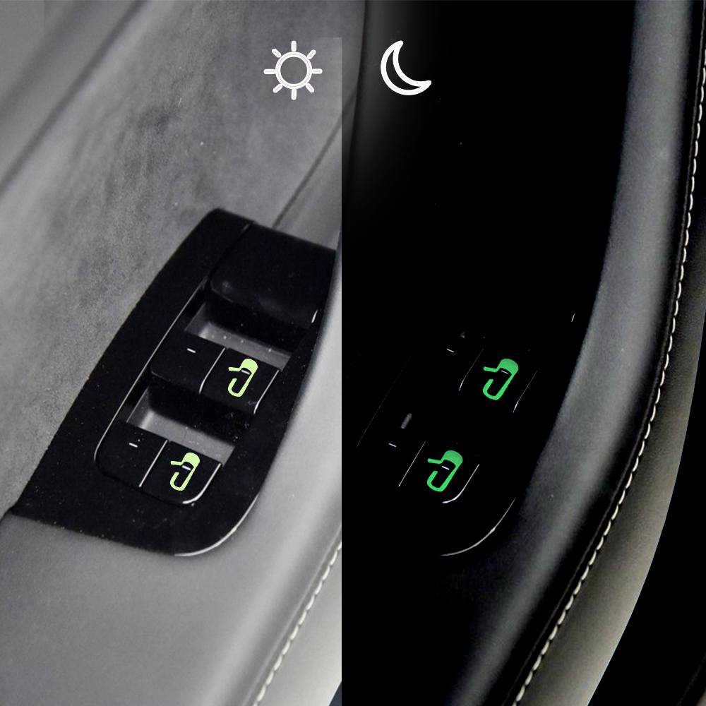 8pcs Car Door Open Exit Sticker For Tesla Model 3 Door Switch Sticker Open Button Reminder Decal Interior Decoration