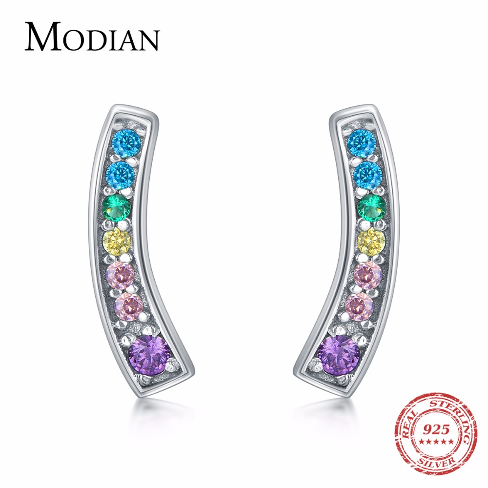MODIAN Genuine Silver Earrings For Women 925 Sterling Silver Stud Earrings Silver 925 With Colorful Fantastic Jewelry