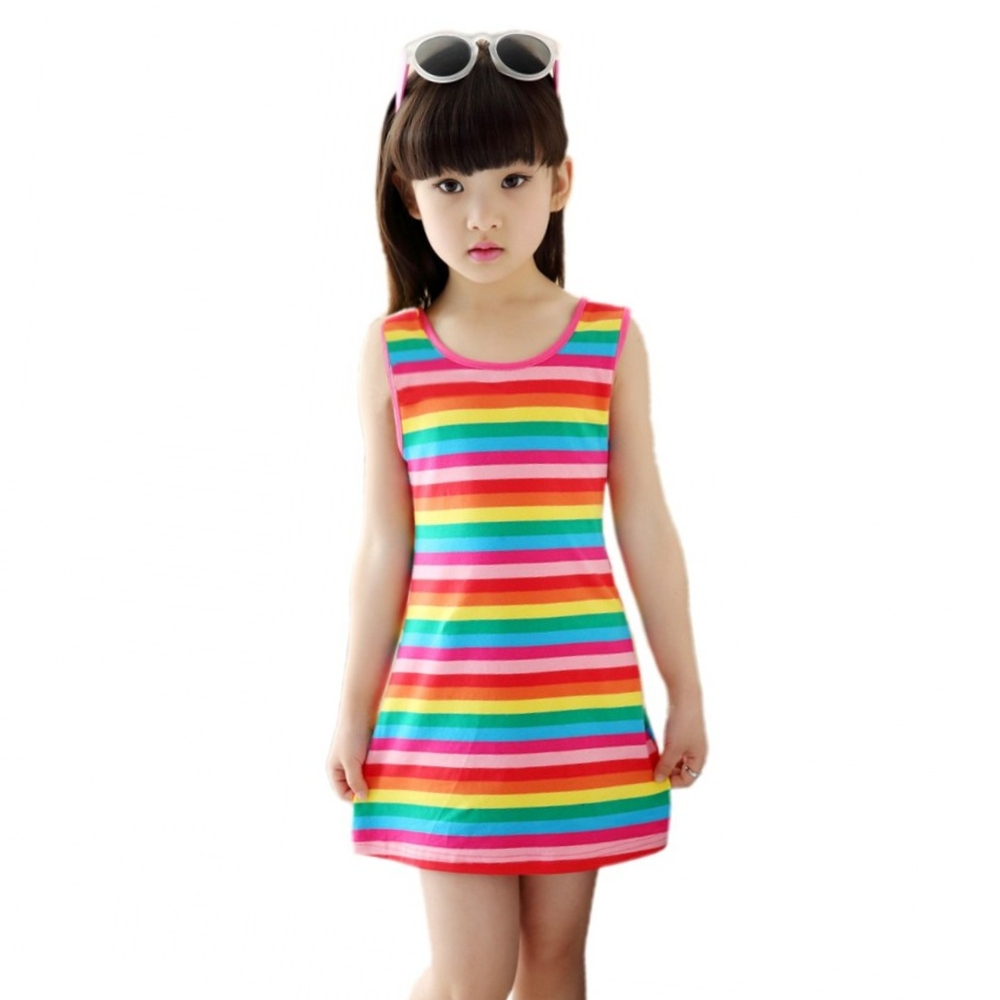 2018 Jualan Hot 3 4 5 7 8 10 11 12 15 Years Girls Stripe Seeveless Rainbow Cotton Brand Summer Girl Dress Tutu Dresses For Girls