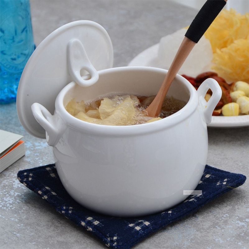 Ceramic Tableware With Pure White Stew Soup Bowl Cover Water In Bird's Nest Soup Seminal Hotel Binaural Wing Cup