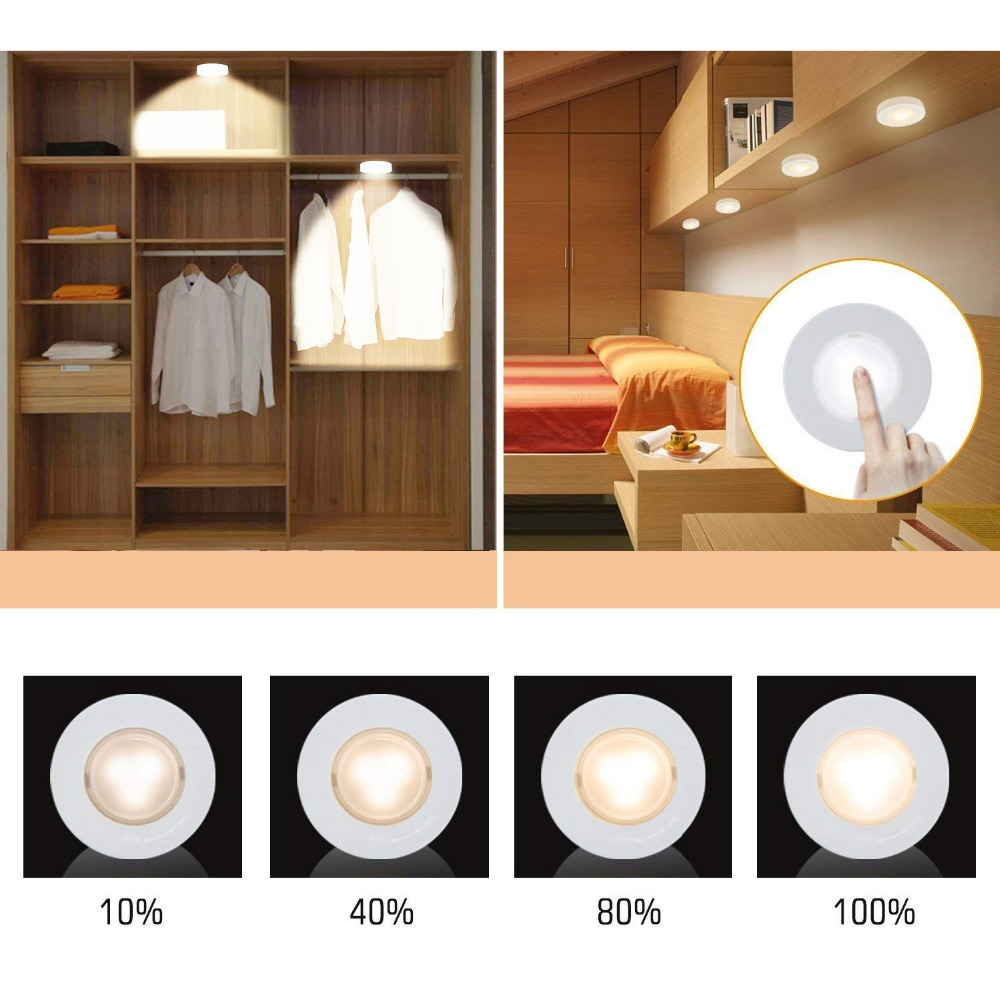 BTgeuse Wireless LED Puck Lights, Kitchen Under Cabinet Lighting with Remote Control, Battery Powered Dimmable Closet Lights Under-cabinet lighting