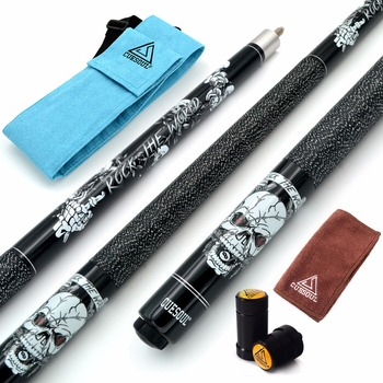 "CUESOUL ROCK II 57"" 19/20/21 oz Black Pool Cue Stick With Cue Bag with and Joint/Shaft Protector"