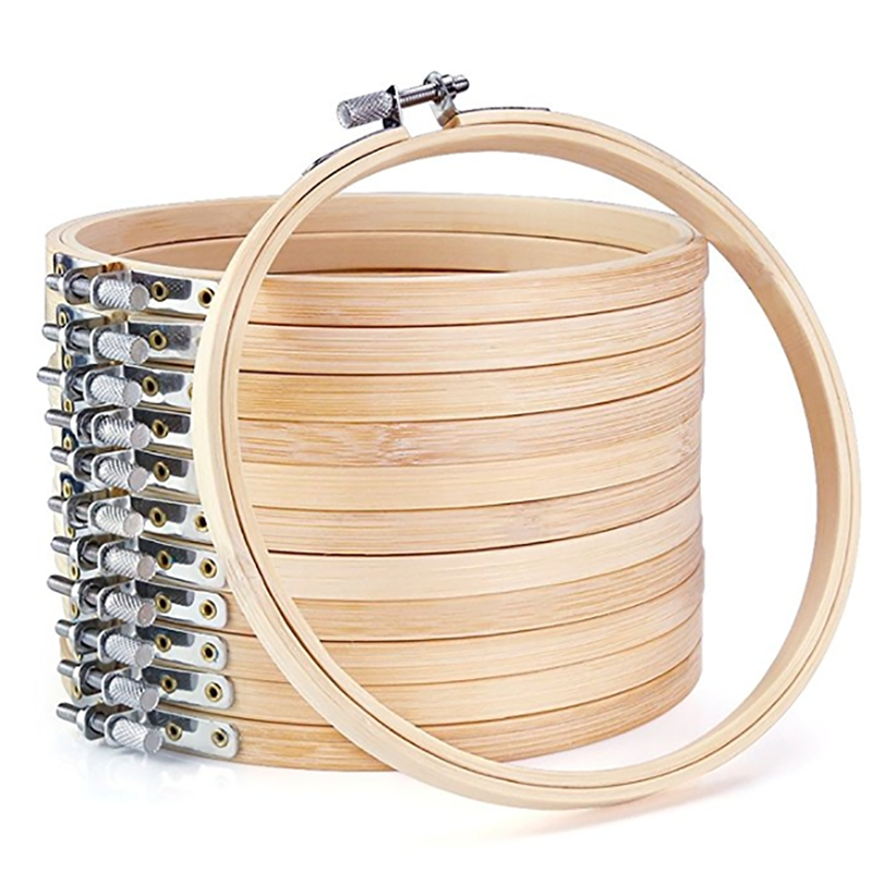 6 Different Size Round Shape Handy Wooden Cross Stitch Machine Embroidery Hoop Ring Bamboo Sewing Tool Accessory