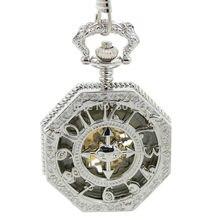 Серебряный тон глянцевое покрытие сплав большого металлического изделия с жемчугом, Размеры модные Для мужчин Женская карманные часы с цепочкой
