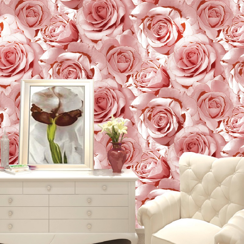 10M Hot Selling Rose Flower wallpapers 3D Roll Modern wall paper papel de parede tapete home decoration wallpapers 63 rose de mai
