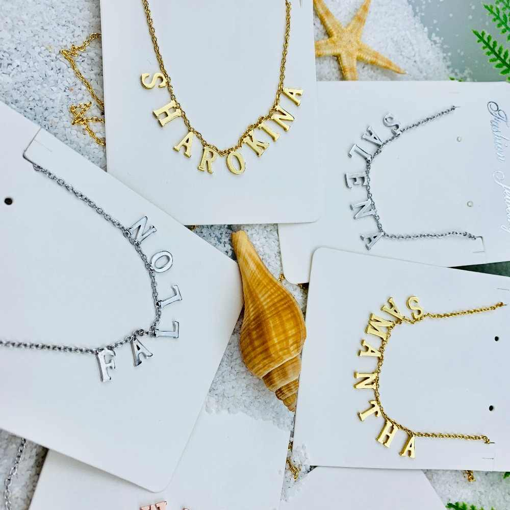 FYN102 FY Jewelry Personalized Necklace Bridesmaid Jewelry Custom Name Heart Star Crown Name Necklace Initial Necklace