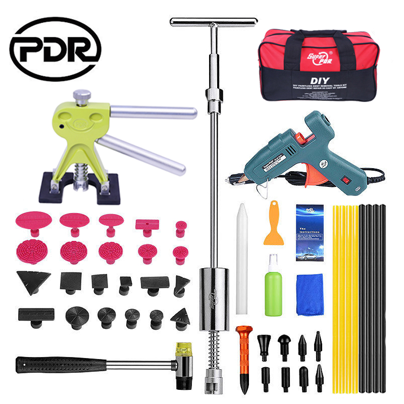 PDR Tools Tool To Remove Dents Auto Tool Set Car Body Repair Kit Dent Puller Kit Reverse Hammer Lifter Removal Glue Gun Suckers