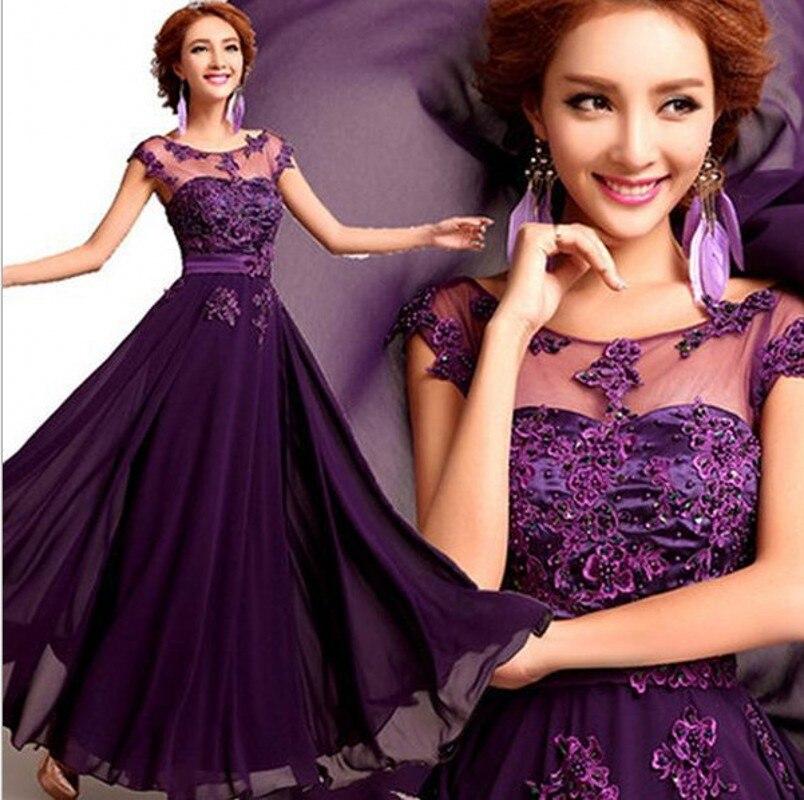 2019 élégant dentelle mousseline de soie longues robes de soirée o-cou Appliques robe de bal violet/rouge/rose robes de soirée de bal robes