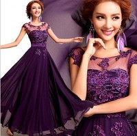 2019 Elegant Lace Chiffon Long Evening Dresses O neck Appliques Prom Party Dress Purple/Red/Pink Prom Evening Gowns Vestidos