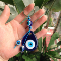 Turkish Turkey Evil eye water shape pendant 4x5cm key chain key ring bag charm car protection glass charm stainless steel