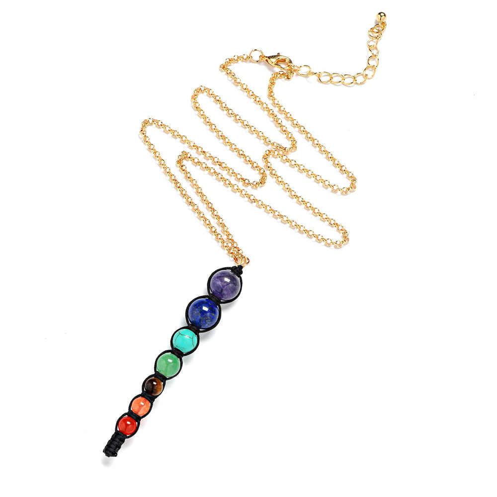 Arcobaleno 7 chakra pendente della collana multicolore collana di pietra naturale per le donne gioielli yoga spirituale reiki