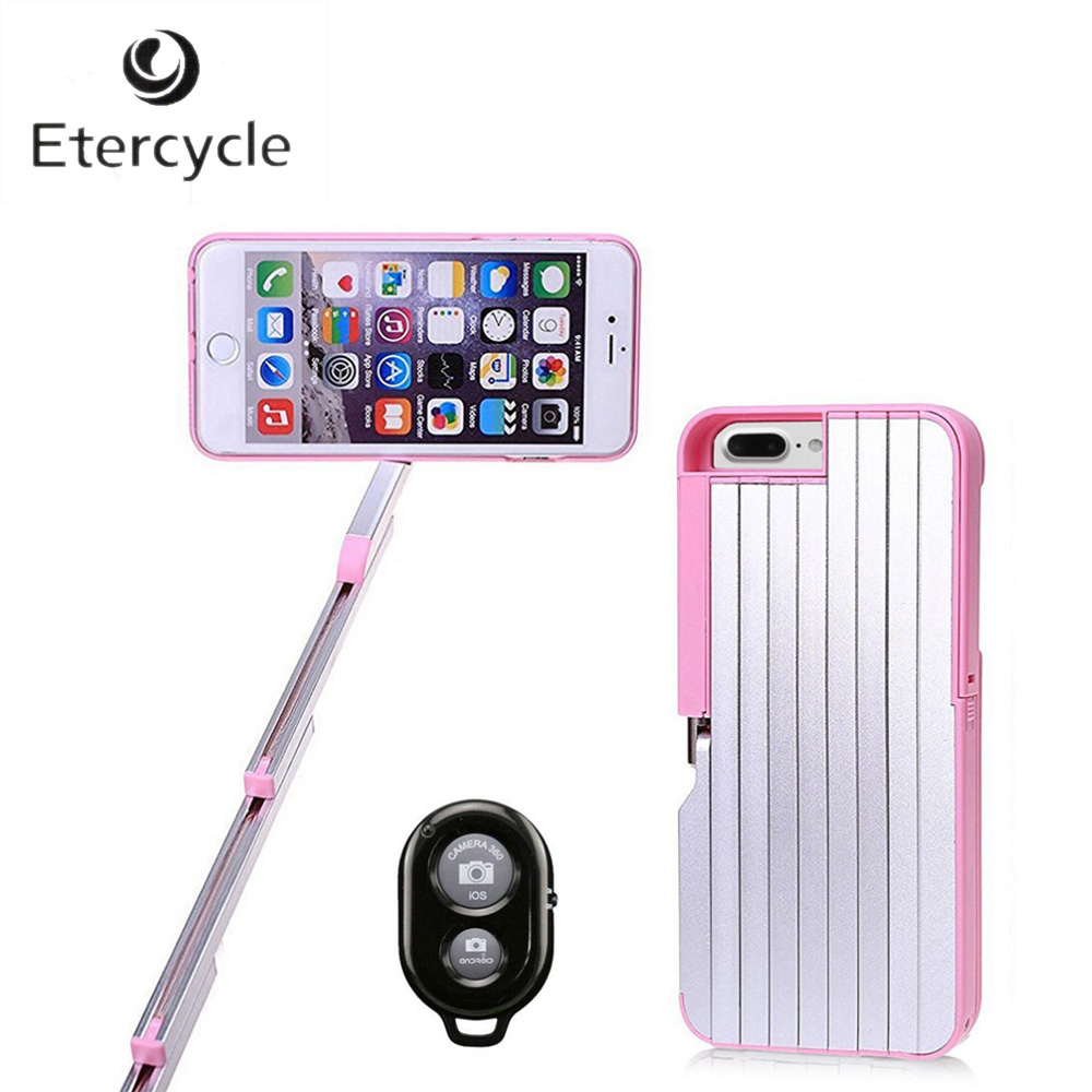 Etercycle Bluetooth Selfie Stick Aluminum Extendable Phone Case Monopod with Bluetooth Remote Controller for iPhone 7